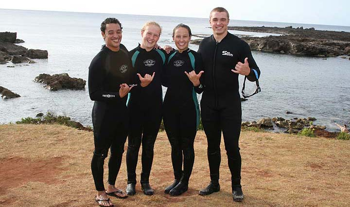 Scuba Stu, Kalyn, Her sister Kandyce and Friend Jarred at Sharks Cove North Shore Hawaii